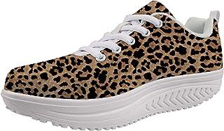 Woisttop, scarpe da donna con zeppa per aumentare l'altezza, comode scarpe da allenamento alla moda, (Stampa leopardata), ...