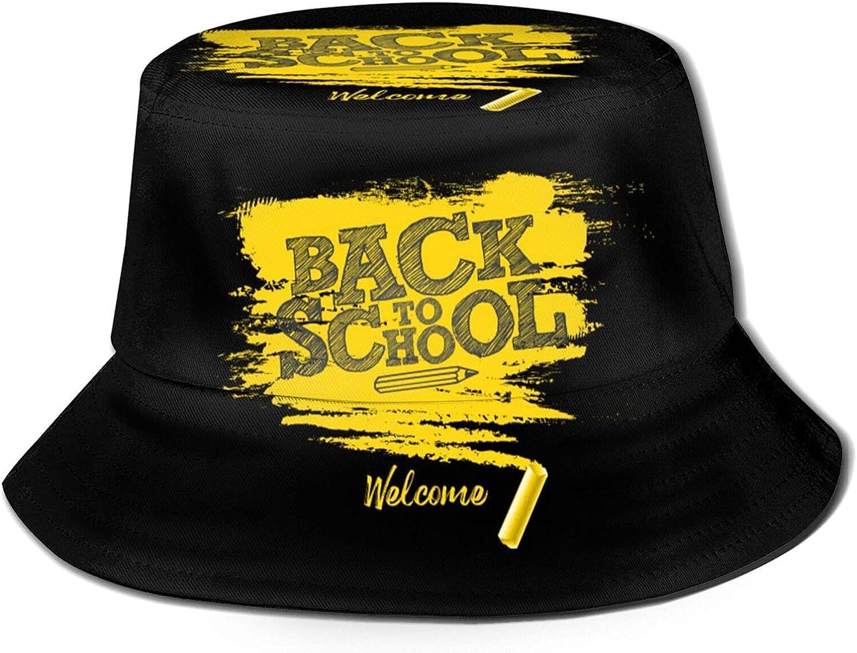 Welcome Back to School Lettering with Chalk Black Chalkboard Bucket Hats Beautiful Summer Travel Beach Sun Hat