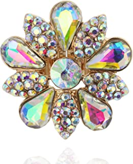 SP Sophia Collection Fashion Flower Stretch Adjustable Ring Embellished with Beautiful Marquise and Teardrop Austrian Crystal Rhinestones