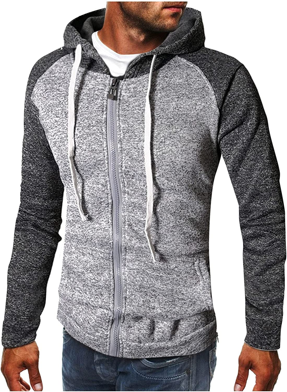 Men's Casual Hoodies Drawstring Slim-fit Patchwork Cozy Sweatershirt with Pokect