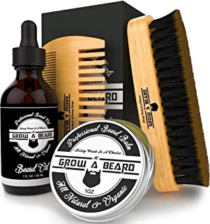 Beard Brush, Oil, Balm, & Comb Grooming Kit for Men's Care, Travel Bamboo Facial Hair Set for Growth, Styling, Shine & Sof...