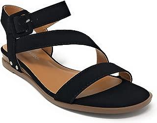 Women's JDSydney Open Toe Strappy Buckle Open Toe Flat Sandals