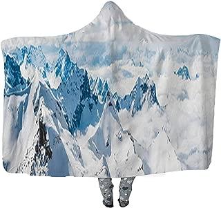 CUDEVS Alps Above The Clouds Snowy Summits Alpine Peaks Panorama Switzerland Wearable Blanket,Adult Women Men Kids Wearable Blanket,043866,60''W x 50''H
