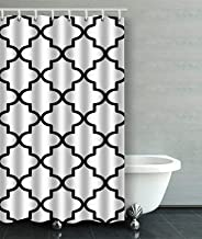 IrYuee Custom White and Black Moroccan Quatrefoil Outdoor Shower Curtain 36x72 inches