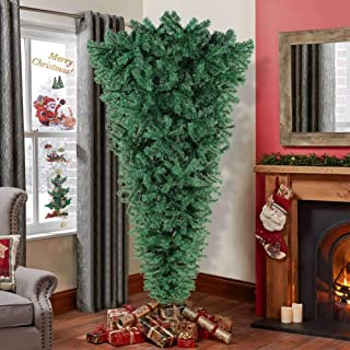 Aytai 7ft Upside Down Artificial Christmas Tree with Metal Stand, PVC Green Xmas Tree for Holiday Christmas Decoration