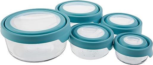 انكور هوكينغ ترو سيل - حاوية زجاجية لحفظ الطعام مع اغطية محكمة الغلق - ازرق - 13397ECOM