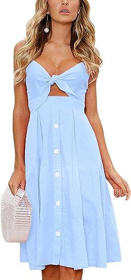 medium long blue summer dress with details