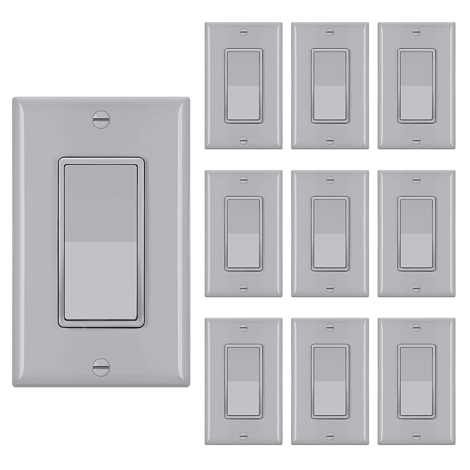 Denver Mall 10 Pack BESTTEN Single 55% OFF Pole Decorator Wall Switch Light W with
