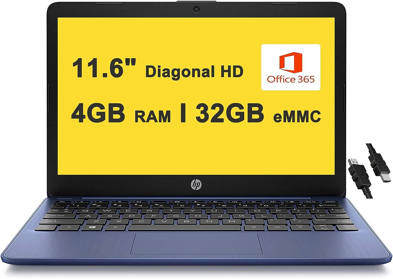 "2021 Flagship HP Stream 11 Laptop 11.6"" Diagonal HD SVA Anti-Glare Display Intel Celeron N4000 Processor 4GB RAM 32GB eMMC USB-C WIFI5 Bluetooth Microsoft 365 for 1 Year Win10 Blue + iCarp HDMI Cable: Computers & Accessories"