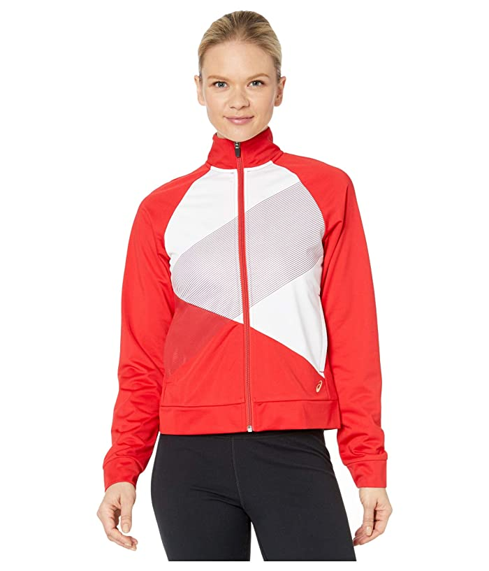 ASICS  Tokyo Full Zip Warm Up (Classic Red/Brilliant White) Womens Clothing