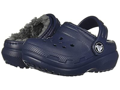 Crocs Kids Classic Lined Clog (Toddler/Little Kid) (Navy/Charcoal) Kids Shoes