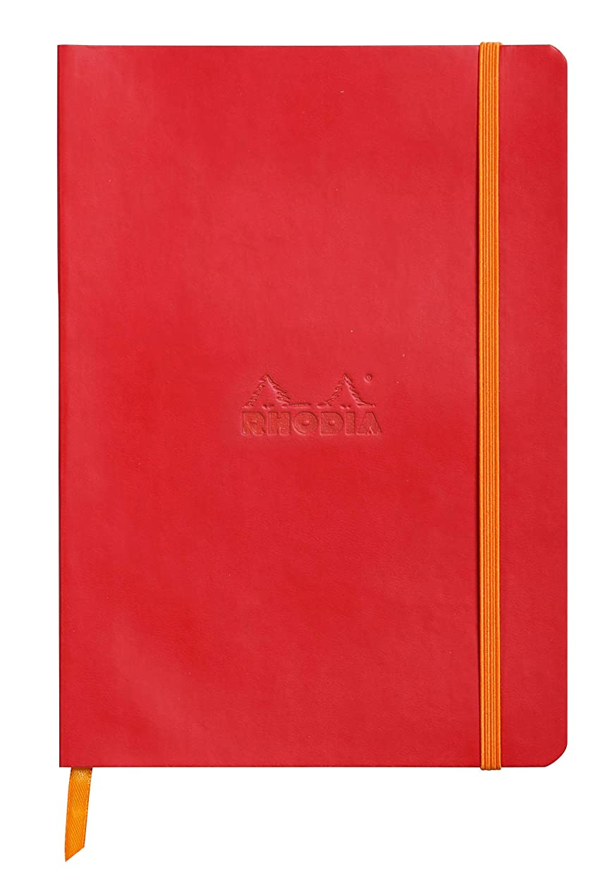 (8 1/4 x 5 1/2, Poppy) - Rhodiarama Rodia Leather Softcover A5 Poppy Red Notebook - Dotted Pages - 15cm x 21cm