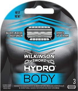 Wilkinson Sword Hydro BODY - Recambio de Cuchillas para Afeitadora Corporal Hombres con 5 Hojas Bidireccionales para una Depilación del Cuerpo en Ambos Sentidos, Pack 3 Unidades