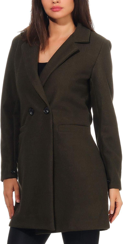 Malito Damen Kurzmantel | edle Jacke mit Knöpfen | schicke Übergangjacke | Jacke mit Taschen 19691 Oliv