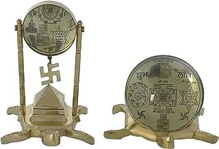 Ramraj Brass Set Of Tortoise Pillar Pyramid Shree Yantra & Shubha Labh Stand Tortoise Yantra - (Metallic)