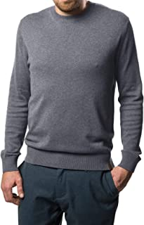 Mio Marino Cotton Sweaters for Men - Lightweight Crewneck Men's Pullover - Charcoal Grey - Large