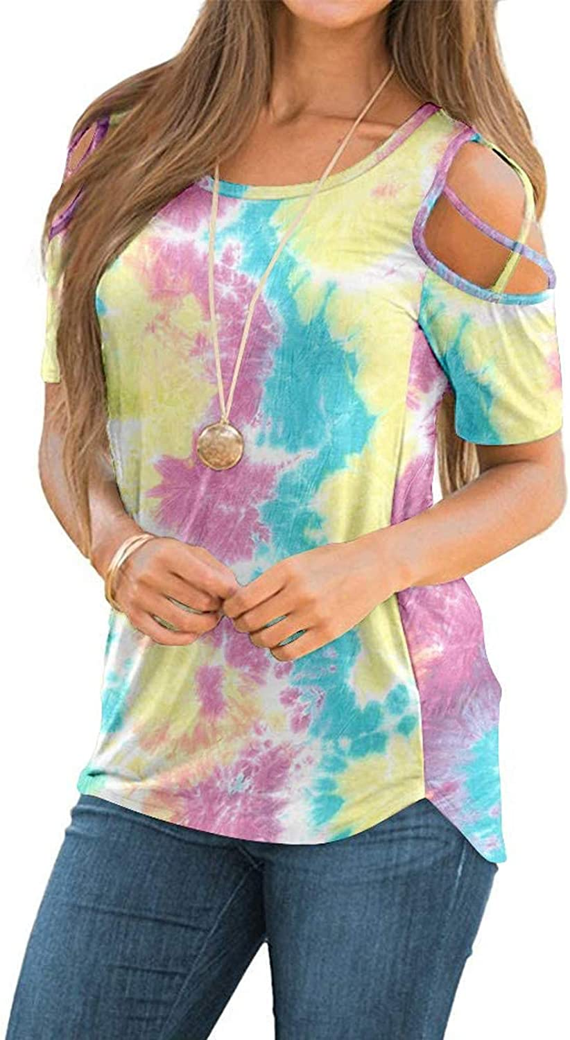 Short Sleeve Tops for Women,Womens Short Sleeve Crewneck T Shirts Tees Casual Loose Fit Strappy Cold Shoulder Tshirts Tops