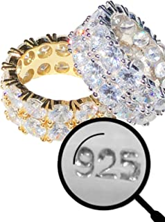 Real Solid 925 Silver His Or Hers Tennis Ring - Wedding Band Or Hip Hop Pinky Ring Looks Nice On Anyone - Iced Out Eternity