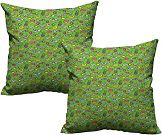 RuppertTextile Customized Pillowcase Cactus Unicorns with Plants and Food Donuts Strawberries Heart Shooting Stars Cartoon Style Anti-Fading W20 xL20 2 pcs