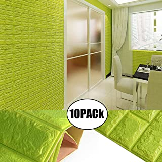 3D Green Foam Brick Wall Panels, POPPAP Peel and Stick Wallpaper Self-Adhesive Removable for TV Background, Kids Children Boys Room Wall Decor, Bedroom, Kindergarten/ 10PACk