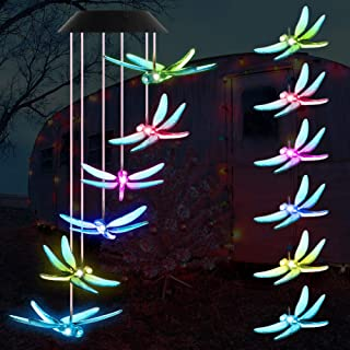 Slopehill Wind Chime Outdoor Color-Changing Waterproof Mobile Romantic Led Solar Powered Dragonfly Wind Chimes Lights for Home, Indoor, Yard, Patio, Night Garden, Party, Gift, Festival Decor