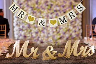 MEiySH Mr and Mrs Sign and Mr & Mrs Banner for Wedding Sweetheart Table Decor Centerpiece,Mr and Mrs Letters, Large Thick Mr & Mrs Sign Set Wedding Shower Gift Decoration