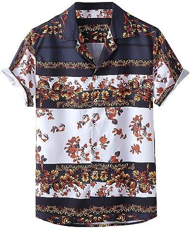 Camisa Hawaiana de Estampada para Hombre Moda Verano Manga ...