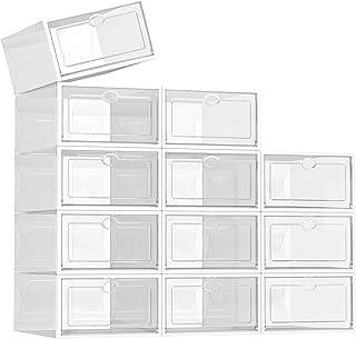 SEE Spring Paquete de 12 cajas de almacenamiento para zapatos, de plástico transparente, apilable, organizador de zapatos,...