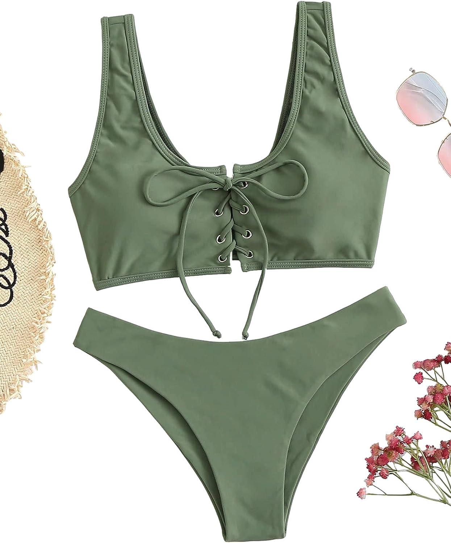 SweatyRocks Women's Sexy Bikini Set Lace Up Solid Color Two Piece Bathing Swimwear Suits