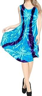 Women's Casual Summer Tank Swing Sun Dresses Cover Up Hand Tie Dye A