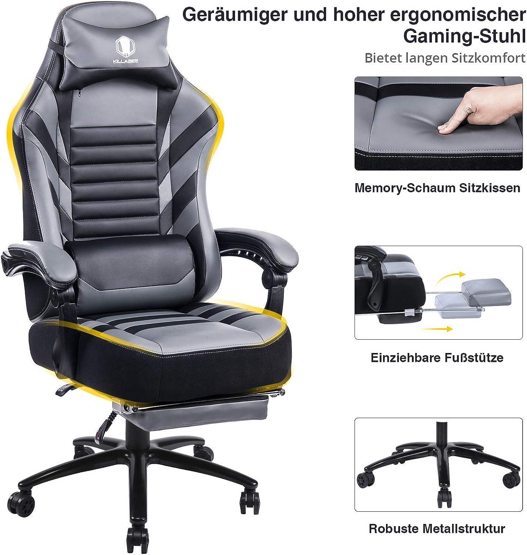 KILLABEE groer Memory Foam Gaming Stuhl - Verstellbarer Neigungswinkel, Rückenwinkel und 3D-Arme. Ergonomische hohe Rückenlehne aus Leder Exklusiver Computer-Schreibtisch Bürostuhl mit Metallsockel