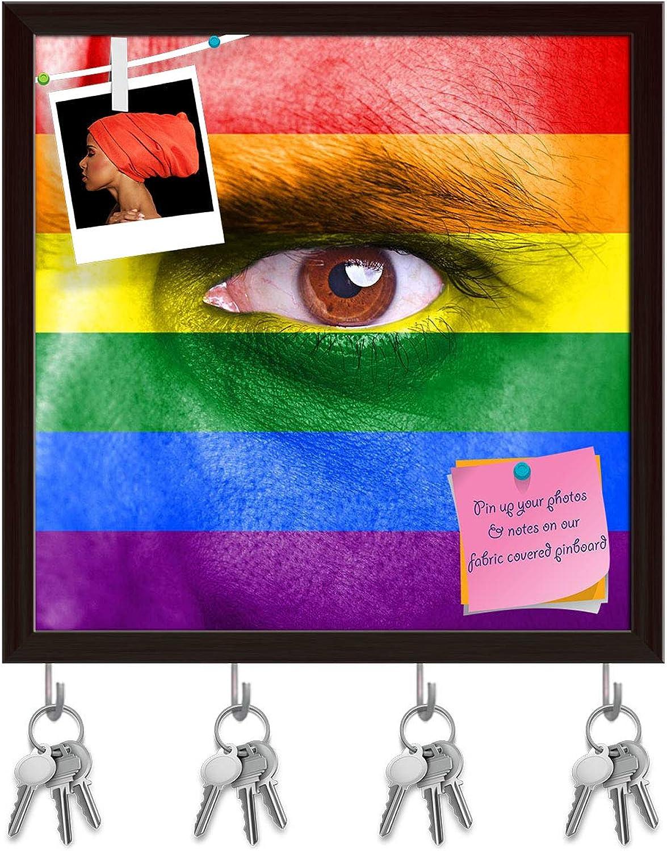 Artzfolio Rainbow Flag Painted On Human Face Key Holder Hooks   Notice Pin Board   Dark Brown Frame 20 X 20Inch