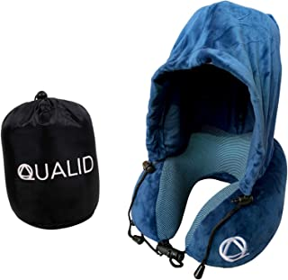 Qualid Travel Pillow with Hoodie- Ultra Soft Comfort, Strong Neck Support, Travel and Home Use, Premium Memory Foam, Shapes to Your Body, Adjustable, One Size Fits All (Blue)