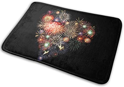Non-Slip Doormats Heart of Fireworks Entrance Rug Indoor/Outdoor Carpet Absorbs Moisture Washable Dirt Trapper Mats