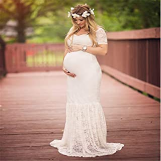 Maternity Dress,European American White Sexy Deep V-Neck Long-Sleeved Lace Perspective Tight-Tailed Long Dress