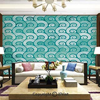 Lionpapa_mural Removable Wall Mural Ideal to Decorate Your Dining Room,Abstract Swirled Sea Waves Pattern Spiral Forms Marine Theme Curvy Aquatic Artwork Print,Home Decor - 100x144 inches