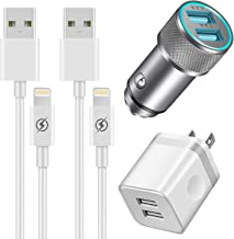 YANME Car Charger, Dual USB 2.4A Car Charger Adapter and 2-Port 2.1A USB Wall Charger with 2-Pack 3FT Charging Cable Cord Compatible with Phone X XR XS Max 8 7 6S 6 Plus 5S 4S, Pad, Pod More (4 in 1)