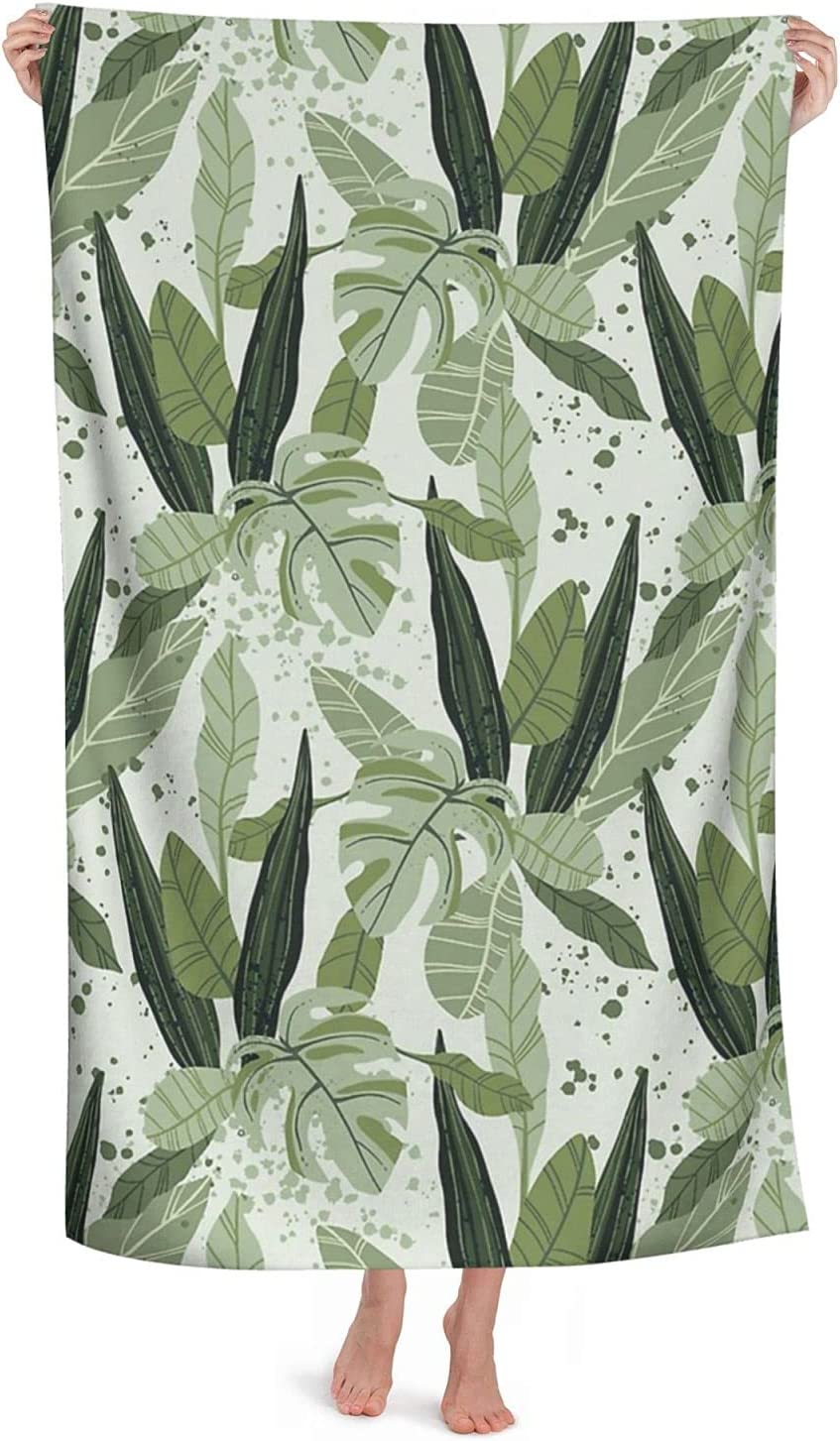 Pale Green Tropical Limited Special Price Beach Towel Microfiber Adult Soft Ultra for Complete Free Shipping