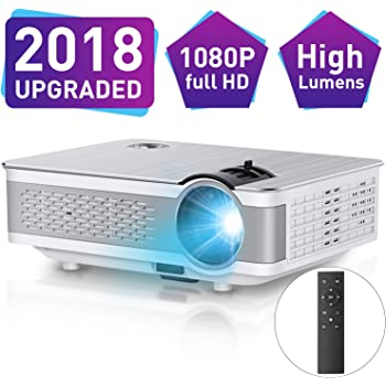 """1080P Projector,Xinda 5.5 inch HD Projector with 200""""Display.3500 LUX LED Video Projector with 60,000 Hours Lamp Life,Home Cinema Theater Support Smartphones Blu-ray DVD,Laptaps,HDMI,VGA,USB,AV,TF BOX"""