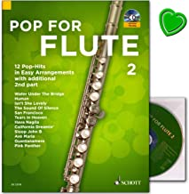 Pop For Flute 2: 12 juegos de pop en Easy Arrangements with additional 2nd Part – Libro de partituras con CD y colorido clip en forma de corazón