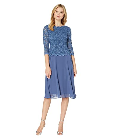 Alex Evenings Tea Length Sequin Lace Mock Dress (Wedgewood) Women