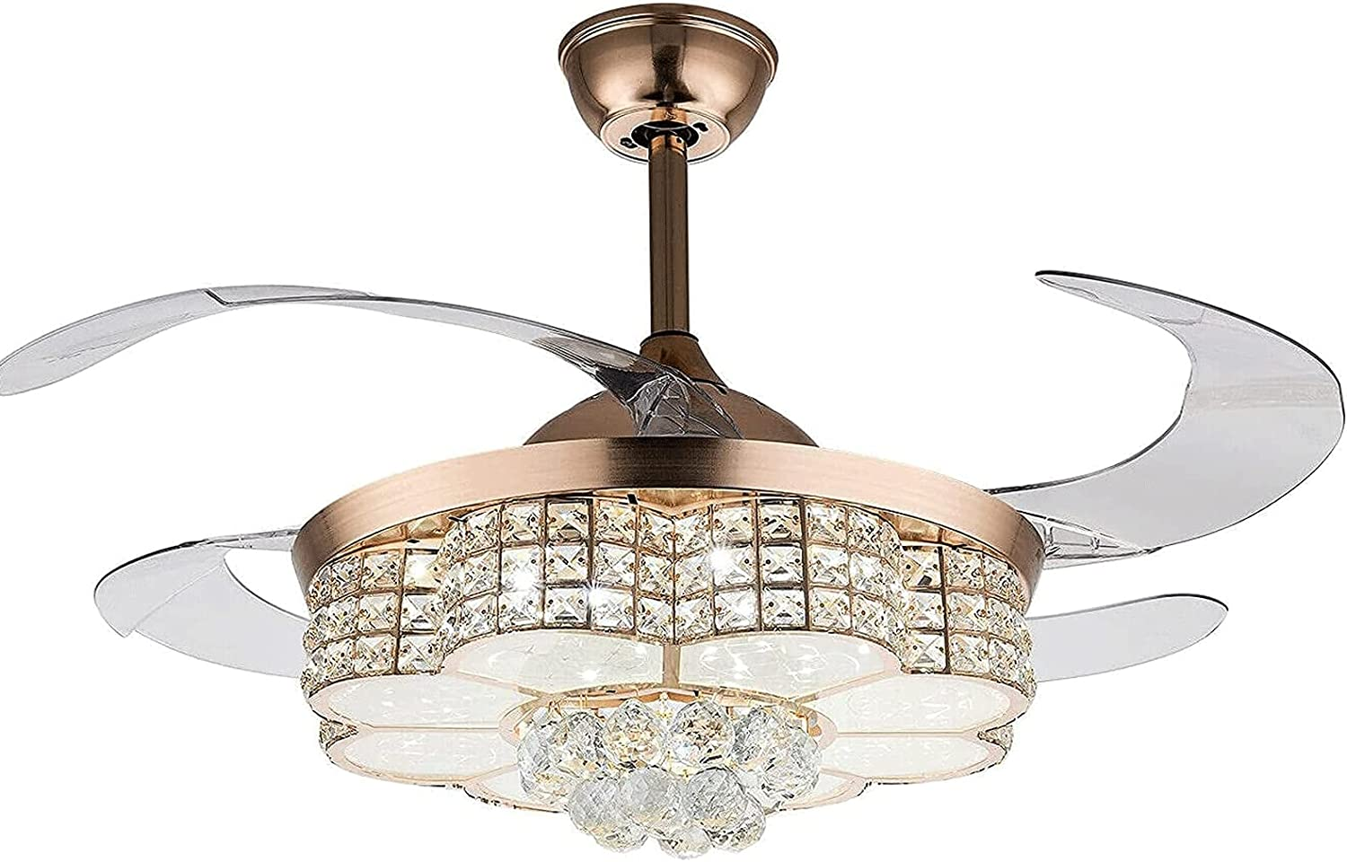 WERCHW Crystal Ceiling Popular product Fans ,with Blades Max 63% OFF Lights Retractable Fa