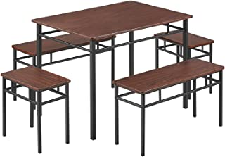 Dining Table Set Kitchen Table with Bench 5 Pieces Modern...