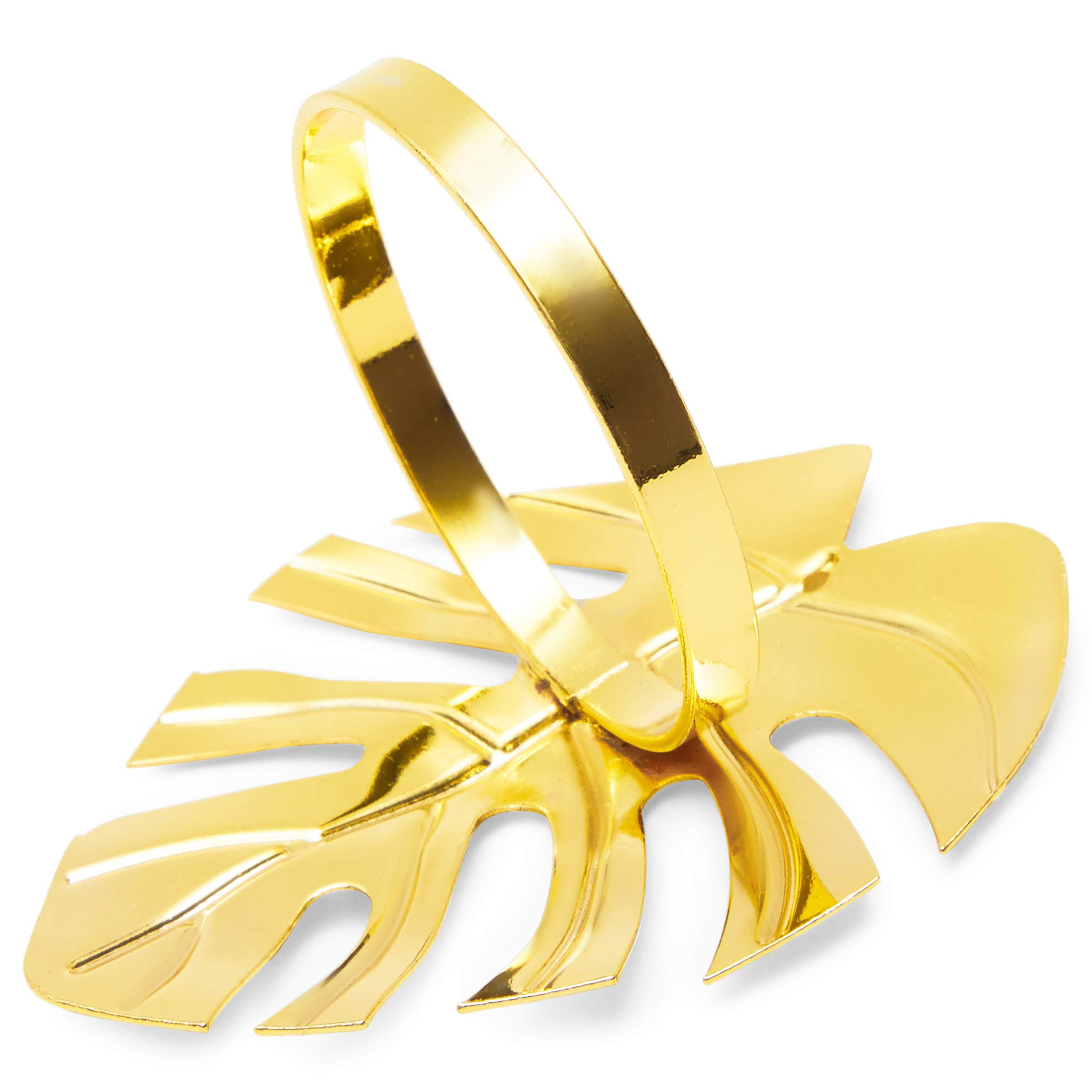 Juvale Tropical Leaf Napkin Rings 1.7 Inches, Gold, 12-Pack