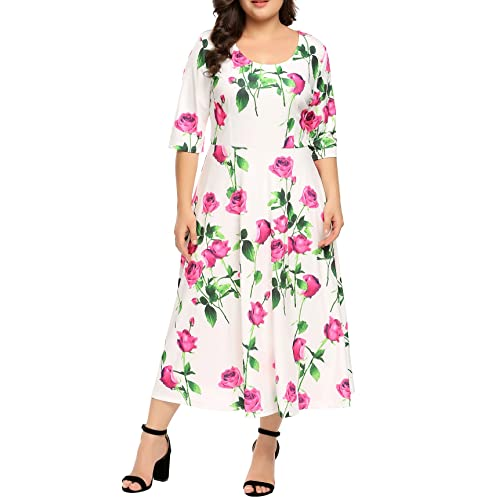 d47701e58cd IN VOLAND Women Plus Size Sleeveless A-Line Printed Cocktail Swing Dress (16W 24W