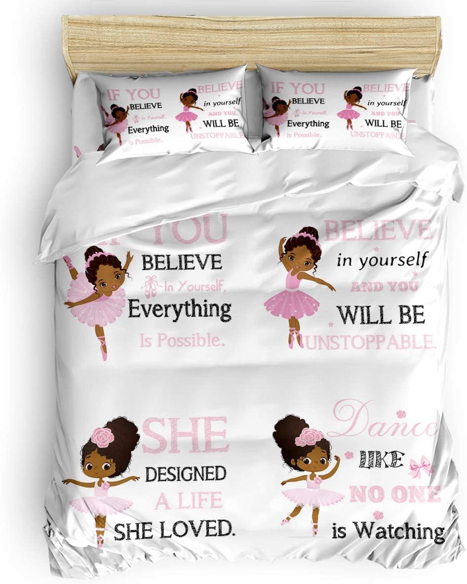 4 Pieces Duvet Covers Queen Size Girl Bombing new work Cute Ballerina Max 65% OFF Ballet Pink