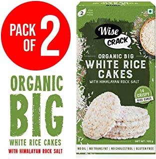 WiseCrack (Organic Big White Rice Cake). Whole Grain Puffed Cracker, Crispy HEALHTY Snacks (Pack of 2, 210 gm)