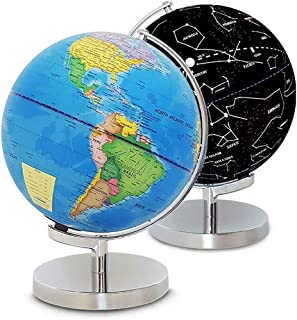 Illuminated World Globe with Stand-Educational Gift Kids Globe Built in LED Light with World Map and Constellation View,In...