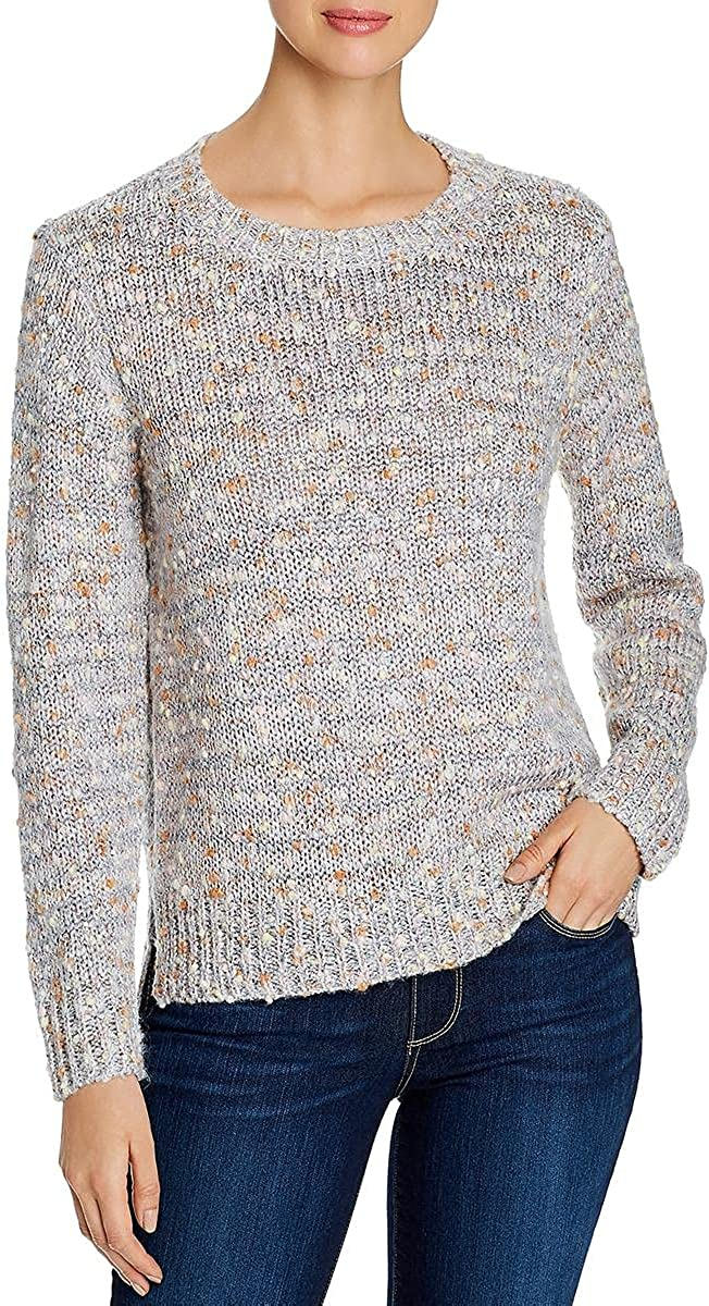 Alison Andrews Womens Cable Knit Sequined Crewneck Sweater