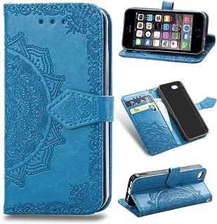Funda para iPhone SE, iPhone 5s, iPhone 5 Carcasa Libro con Tapa Flip Case Antigolpes Golpes Cartera PU Cuero Suave Soporte con Correa Cordel - Mandala Azul